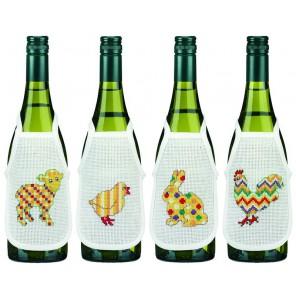 Пасха Набор для вышивания фартучков на бутылку PERMIN