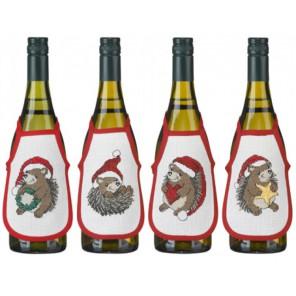 Рождественские ёжики Набор для вышивания фартучков на бутылку PERMIN