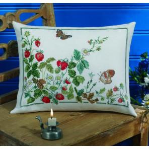 Клубника и Бабочки Набор для вышивания подушки PERMIN