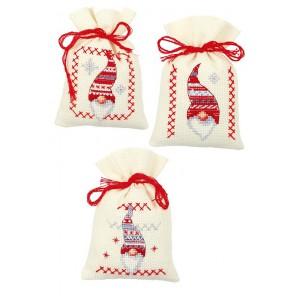 Рождественские гномы Набор для вышивания мешочков (саше) VERVACO