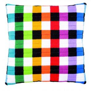 Цветные квадраты Набор для вышивания подушки VERVACO