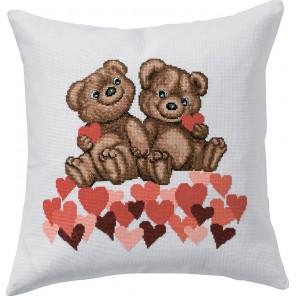 Мишки с сердечками Набор для вышивания подушки PERMIN