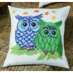 Совы - Синяя и Зеленая Набор для вышивания подушки PERMIN