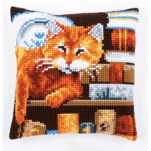 Кот и книги Набор для вышивания подушки VERVACO