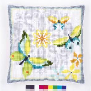 Бабочки и цветы Набор для вышивания подушки VERVACO