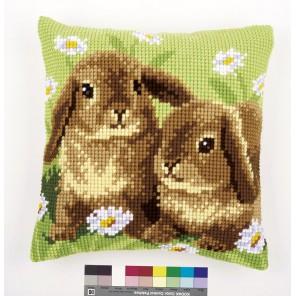 Два кролика Набор для вышивания подушки VERVACO