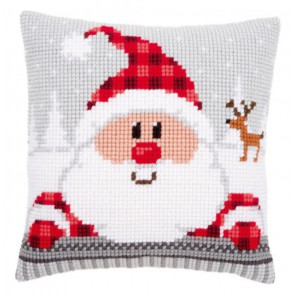 Санта в клетчатой шапке Набор для вышивания подушки VERVACO