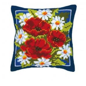 Маки и ромашки Набор для вышивания подушки VERVACO