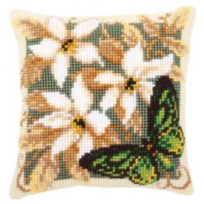 Зеленая бабочка Набор для вышивания подушки VERVACO