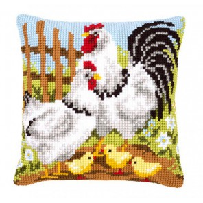 Семья кур на ферме Набор для вышивания подушки VERVACO
