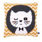 Подмигивающий котенок Набор для вышивания подушки VERVACO