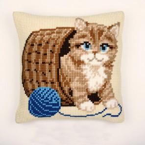 Котенок с клубком Набор для вышивания подушки VERVACO