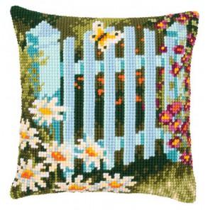 Забор с маргаритками Набор для вышивания подушки VERVACO