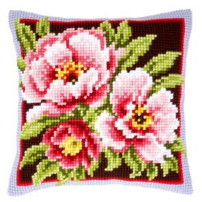 Розовые цветы Набор для вышивания подушки VERVACO