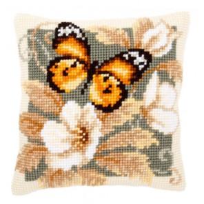 Черно-оранжевая бабочка Набор для вышивания подушки VERVACO