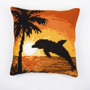 Дельфин на закате Набор для вышивания подушки VERVACO