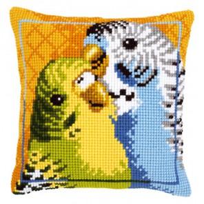 Волнистые попугайчики Набор для вышивания подушки VERVACO
