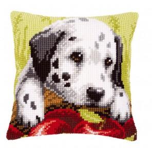 Щенок далматин с яблоками Набор для вышивания подушки VERVACO