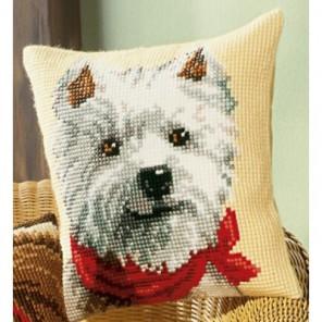 Собачка с шарфом Набор для вышивания подушки VERVACO