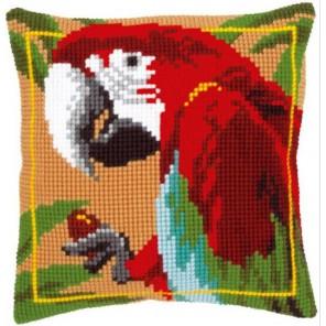 Красный Ара Набор для вышивания подушки VERVACO