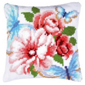 Голубые бабочки Набор для вышивания подушки VERVACO