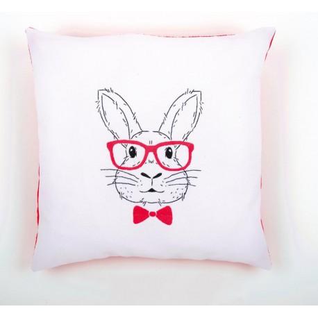 Кролик в розовых очках Набор для вышивания подушки VERVACO
