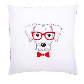 Собака в красных очках Набор для вышивания подушки VERVACO