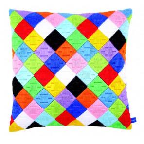 Цветные ромбы Набор для вышивания подушки VERVACO