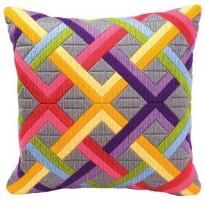 Цветные диагонали на сером Набор для вышивания подушки VERVACO