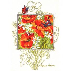 Маки и бабочки Набор для вышивания подушки PERMIN