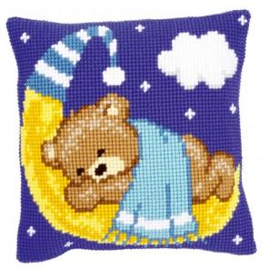 Голубой Тедди на Луне Набор для вышивания подушки VERVACO