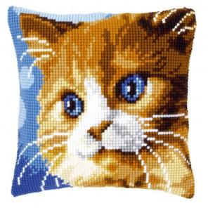 Коричневый кот Набор для вышивания подушки VERVACO