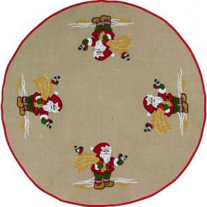Санта с птичками Набор для вышивания коврика под ёлку PERMIN