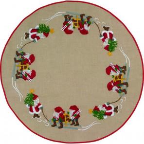 Гномы с ёлками Набор для вышивания коврика под ёлку PERMIN
