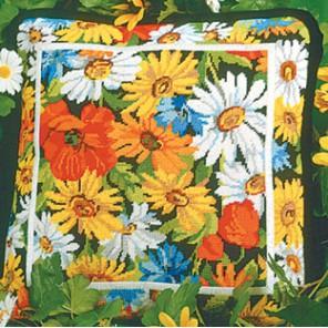 Маргаритки и маки Набор для вышивания подушки CANDAMAR DESIGNS