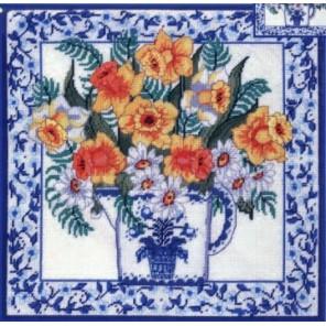 Нарциссы и голубой фаянс Набор для вышивания подушки CANDAMAR DESIGNS