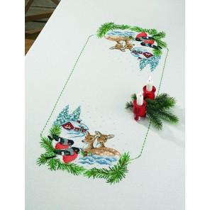 Косуля в снегу Набор для вышивания скатерти PERMIN