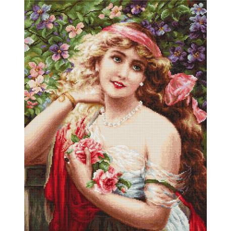 Девушка с розами Набор для вышивания LUCA-S