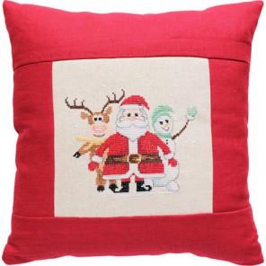 Дед Мороз, олененок и снеговик Набор для вышивания подушки LUCA-S