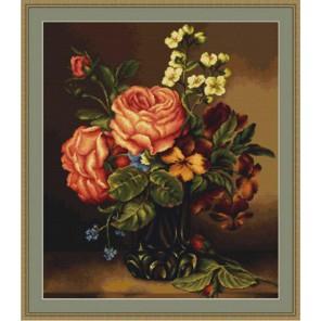 Ваза с розами и цветами Набор для вышивания LUCA-S