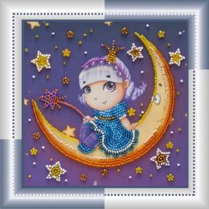 Лунная мечтательница Набор для вышивки бисером на натуральном художественном холсте АБРИС АРТ
