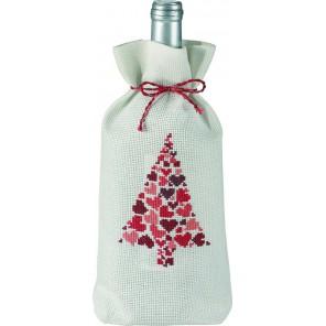 Новогодняя ёлка с сердцами Набор для вышивания мешочка для бутылки PERMIN