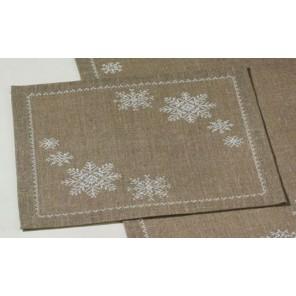 Снежинки на льне Набор для вышивания салфетки PERMIN