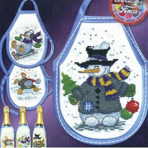Снеговики Фартучки на бутылки МАРЬЯ ИСКУСНИЦА