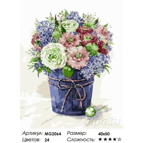 Количество цветов и сложность Сиреневая нежность Раскраска картина по номерам на холсте Menglei MG2064