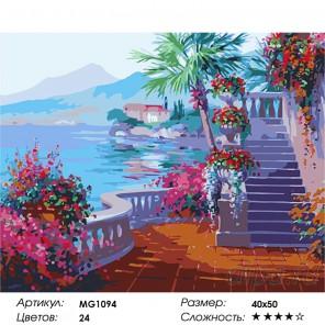 Количество цветов и сложность Романтика озеро Комо ( художник Микки Сенкарик ) Раскраска (картина) по номерам на холсте Menglei