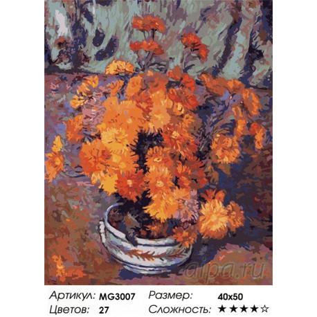 Количество цветов и сложность Ваза с хризантемами ( художник Арман Гийомен) Раскраска (картина) по номерам на холсте Menglei MG3
