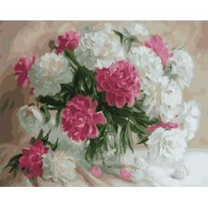 Бело-розовые пионы в стеклянной вазе Раскраска по номерам на холсте