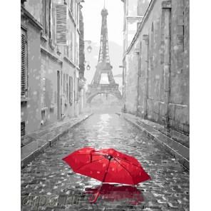 Парижский зонтик Раскраска по номерам на холсте
