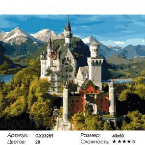 Сложность и количество цветов  Замок Нойшванштайн Раскраска по номерам на холсте GX23285